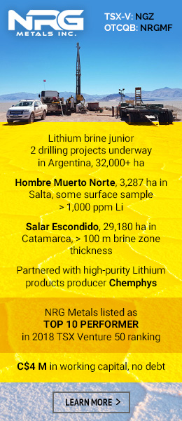 NRG Metals Top Lithium Junior - drilling underway, 2 projects, Argentina.