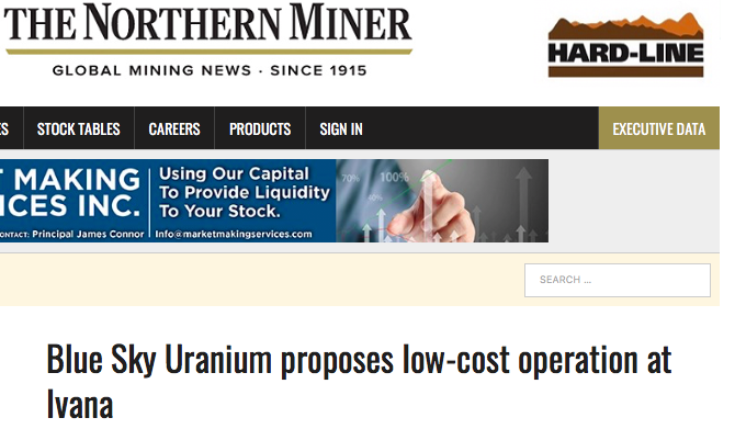 The Northern Miner Features Blue Sky Uranium