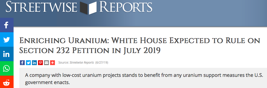 Enriching Uranium: White House Expected to Rule on Section 232 Petition in July 2019