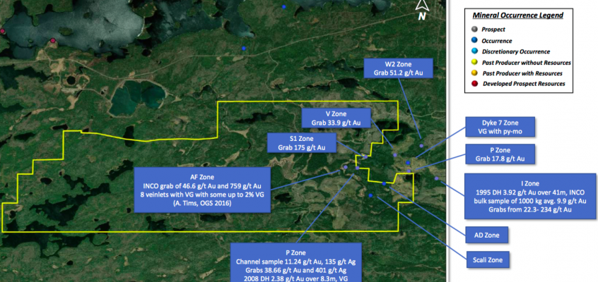 PORTOFINO RESOURCES, 2 high profile gold projects in northwestern Ontario, 1 with a 18 g/t Au grab sample discovery