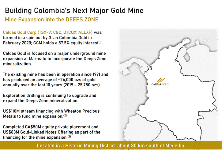 Gran Colombia Gold (TSX: GCM); Largest Colombia Underground Gold & Silver Producer with Great Exploration & Development Potential