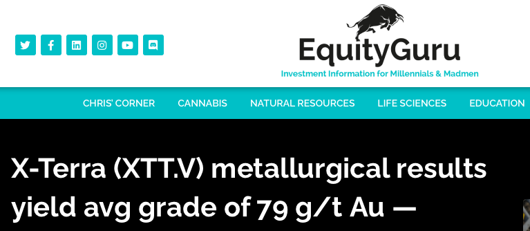 Guest Post, Equity.Guru highlights X-Terra Resources' metallurgical work returning 79 g/t gold