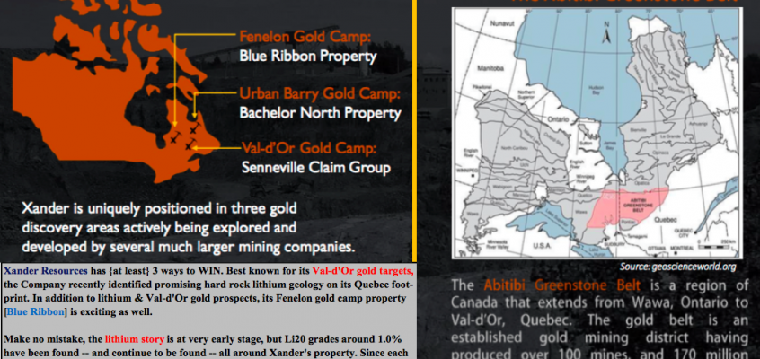 Four #gold properties, plus one #lithium target — all in Quebec; cheap valuation?